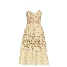 Self-portrait Azaelea lace midi dress ($442) ❤ liked on Polyvore featuring dresses, yellow, nude lace dress, beige cocktail dress, yellow midi dress, see through dress and yellow dress