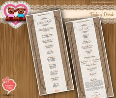 Custom Wedding Program burlap rustic chic typographic style classic cottage Typography theme card clipart - printable file (w0019) by TeeshaDerrick in http://www.etsy.com/shop/TeeshaDerrick