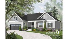Version couleur no. 4 - Vue avant du plan de maison unifamiliale 3246-V1