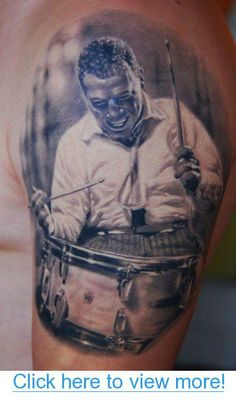 Den Yakovlev- two of my favorite things tattoos and drumming! Buddy Rich is just one of the best when it comes to drumming $lt;3