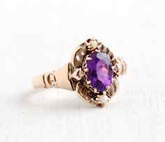 SALE Antique Victorian 9k Rose Gold Amethyst and by MaejeanVintage, $350.00