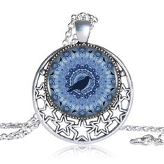 Find More Pendant Necklaces Information about Blue Hydrangea Crow Botanica Logo Round Pendant Women Choker Statement Silver Necklace For Men Dress Accessories DF0823116 ,High Quality necklace unique,China necklace anchor Suppliers, Cheap necklace channel from DreamFire Store on Aliexpress.com