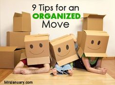 9 Tips for an Organized Move via MrsJanuary.com #organizing #moving As you start packing up your belongings, keep a record of the items you are packing. Number each box and organize your contents list by number.