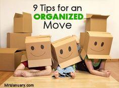 9 Tips for an Organized Move via MrsJanuary.com #organizing #moving
