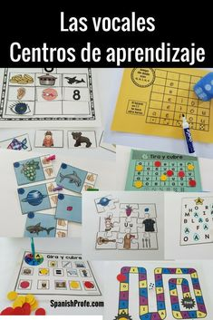 Las vocales- 13 centros de aprendizaje  Vowels in Spanish- Literacy centers for preK, pre-School and Kindergarten. Great for Spanish immersion, dual language and Spanish classes to learn the vowels in Spanish.  aeiou in Spanish, las vocales en espanol.