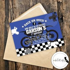 Motocross Supercross Dirt Bike Birthday Party Invitation By Socalcrafty Printed Or Printable 16
