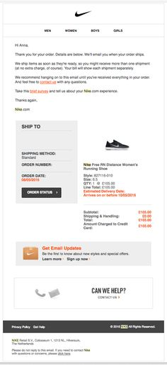 Nike - Trigger transactional email - Clean, clear, good UX, Simple grid with universal features, personalised, everything you need to know, the top menu changes to be at the bottom in mobile design.