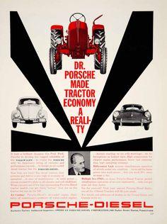 1960 Ad Porsche-Diesel Tractor PTO Wolkswagen Automobile Car Farming Machinery