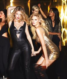 Doutzen Kroes, 31, andLara Stone, 32, look sensational as they lead a glamorous troop of supermodels in L'Oreal's new golden beauty campaign