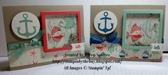 Great, GREAT Card! Seaside Shore stamp set. By the Shore DSP. Stampin' By The Bay: Seaside Shaker Card