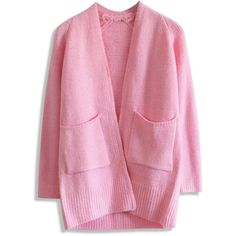 Chicwish Basic Pocket Knitted Cardigan in Pink ($51) ❤ liked on Polyvore featuring tops, cardigans, pink, pink top, pocket tops, pink cardigan, cardigan top and pocket cardigan