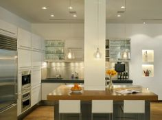 Apartment, Intriguing Contemporary Loft With Marvelous Kitchen Island Stunning Glass Draining Board Astounding Pendant Lamp Remarkable Gloss...