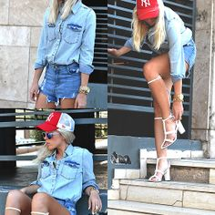 Chic Nova Faded Denim Blouse With Twin Chest Pockets, Chic Nova Retro Sunglasses With Colored Tinted Lenses, Choies New Style Toe Sandals In White
