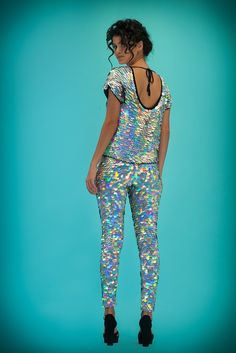 Image of PRISM Collection | INDUS Sequin Leggings | hologram silver
