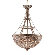 Elegance abounds with this Elizabethan dark-bronze pendant light. Crafted of steel with a bronze finish and accented with a shade of lead crystal beads, this pendant adds light and sparkle to your ent