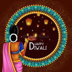 Illustration about Easy to edit vector illustration of lady holding decorated diya for Happy Diwali holiday background. Illustration of dipavali, illustration, greeting - 129054796 Rangoli Designs Latest, Simple Rangoli Designs Images, Rangoli Designs Flower, Rangoli Border Designs, Rangoli Ideas, Colorful Rangoli Designs, Rangoli Designs Diwali, Beautiful Rangoli Designs, Happy Diwali Rangoli