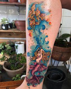 Mermaid Tattoo Designs, Mermaid Tattoos, Landscape Tattoo, Tattoo Feminina, Adult Coloring, Sleeve Tattoos, Tatoos, Watercolor Tattoo, Body Art