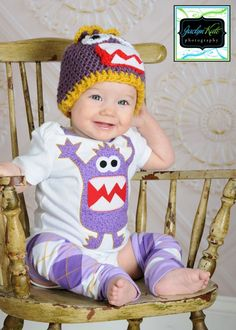 monster applique and matching baby leg warmers