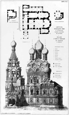 Plan and elevation of the Church of the Trinity and Our Lady of Georgia, Moscow