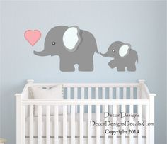 Mom and Baby Elephant Printed Fabric Repositionable Wall Decal by DecorDesigns on Etsy