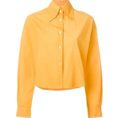 Romeo Gigli Vintage Cropped Shirt ($243) ❤ liked on Polyvore featuring tops, vintage crop top, cotton shirts, yellow long sleeve top, long sleeve shirts and yellow crop top