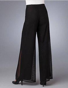 Sofisticado pantalon en malla transparente JS COLECCIONES Mesh Pantalones de vestir de pierna ancha Size 14  $ 250.00