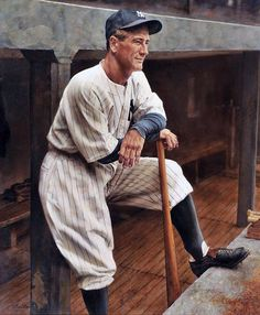 "Lou Gehrig 30"" x 36"" Original Oil Painting by Ron Stark"