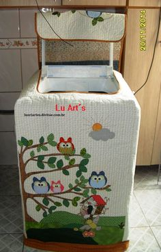 "Lu Art""S - Capa para máquina de roupas Brastemp 9kg Sewing Crafts, Sewing Projects, Projects To Try, Washing Machine Cover, Diy Y Manualidades, Sewing Appliques, Diy And Crafts, Sewing Patterns, Crafty"