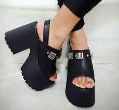 Cute Sandals, Cute Shoes, Me Too Shoes, Thigh High Boots Heels, Heeled Boots, Grunge Shoes, Gothic Shoes, Platform Shoes Heels, Sexy Toes