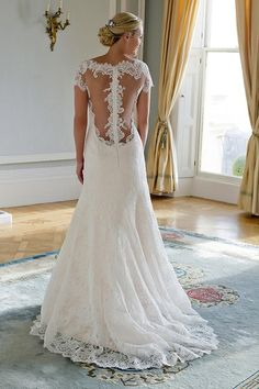 Augusta Jones High Neck Fit and Flare in Lace | KleinfeldBridal.com