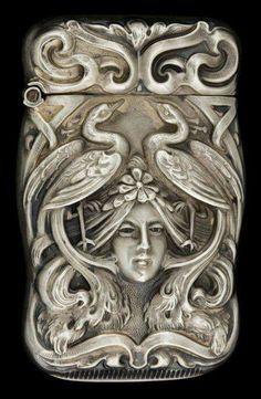 Art Nouveau - Howard & Co New York, New York - Silver & silver gilt match safe - markings: (clover), STERLING Belle Epoque, Vintage Silver, Antique Silver, Gorham Silver, Silver Metal, Vintage Antiques, Vintage Items, Style Floral, Bijoux Art Nouveau
