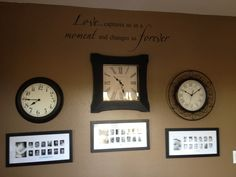 Birth times and baby pictures! Wall Clock With Pictures, Baby Pictures, Birth, Master Bedroom, House Ideas, Gallery Wall, Decorations, In This Moment, Spaces