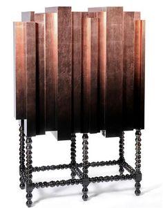Mahogany and Copper Leaf, D. Manuel Bar Cabinet from Boca do Lobo #GISSLER #interiordesign