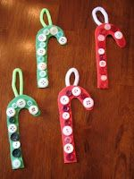Button Candy Cane Preschool Christmas Craft