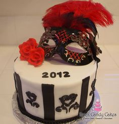 New Year's Cake with Mask year cake, cake inspir, mask, bell cake