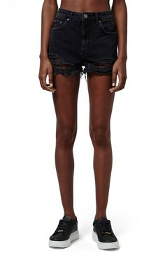 Free shipping and returns on Topshop Ripped High Rise Denim Shorts (Regular & Petite) at Nordstrom.com. Dramatically frayed hems add character to cutoff shorts made from faded black denim in a trendy, high-rise silhouette.