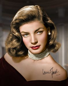 Jewish American film & stage actress, Lauren Bacall (born Betty Joan Perske ~ 1924).  She is known for her distinctive husky voice and sultry looks.  She is first cousin to Shimon Peres, current President of Israel.  She fell in love with co-star Humphrey Bogart on the film TO HAVE AND HAVE NOT (1944).  Bacall married Bogart in 1945 ~ she was 20; he was 45.  They remained married till his death in 1957.  She has been ranked in the top 20 'greatest film actresses' by the American Film Institute.