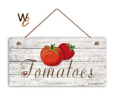"""ON SALE Tomatoes Sign, Garden Sign, Rustic Decor, Distressed Wood, Weatherproof, 5"""" x 10"""" Sign, Vegetable Sign, Gift For Gardener, Made To O"""
