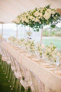 White Pillar Candle, White Sweet Pea Wedding Centerpieces