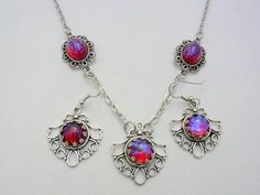 Mexican Fire Opal Dragon's Breath Antique Silver Style Pendant with Earrings Triple Dragon's Breath Necklace