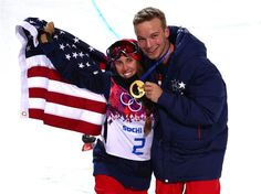Maddie Bowman of the United States celebrates winning the gold medal in the Freestyle Skiing Ladies' Ski Halfpipe Finals with David Wise, gold-medal winner in the Men's Ski Halfpipe on Day 14 of the 2014 Winter Olympics at Rosa Khutor Extreme Park. Sochi 2014 Day 14 - Freestyle Skiing Ladies' Ski Halfpipe.