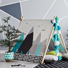 """Let the adventures begin! This Mountains Tee-pee tent encourages active, fun and creative play. Also available in adorable house design. #teepee…"""