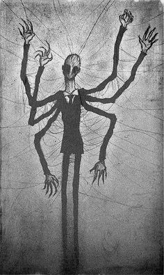 Slender Man-drawing found on a wall in the abandoned Cane Hill Asylum, Coulsdon, London.