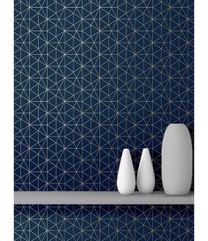 This Metro Prism Geometric Triangle Wallpaper in Navy and Gold features stylish metallic elements. Part of the World of Wallpaper Metro Collection. Free UK delivery available. Geometric Wallpaper Prints, Navy Wallpaper, Metallic Wallpaper, Paper Wallpaper, Contemporary Wallpaper, Contemporary Design, Navy Blue Background, High Quality Wallpapers, Triangle Pattern