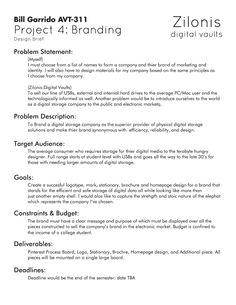 Design Brief / Zilonis: Digital Vaults Problem Statement, Project 4, Choose Me, Branding, Names, Marketing, Digital, Design, Brand Management