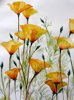 Watercolor: Garden-Inspired Bouquet, California poppies. singhroha