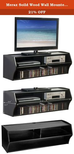 """Merax Soild Wood Wall Mounted Tv Stand 47"""" Tv Console with Theree Open Shelf Center Tv Entertainment Cente (Black). The three cabinets provide plenty of space for all additional accessories. Finished with a black surface that is stable enough for LED, LCD, Plasma flat panel TVs. Cable management helps keep cables organized and provides your living room with a high quality clean finish. Product Details Dimension: 47.25"""" Wide x 15.6"""" Deep x 15.75"""" High Color: espresso Construction: 100%..."""
