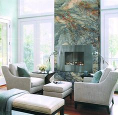 Green against white FUSION - Super Exotic Quartzite Fireplace Feature Fireplace Feature Wall, Family Room Fireplace, Fireplace Built Ins, Bedroom Fireplace, Home Fireplace, Fireplace Remodel, Modern Fireplace, Fireplace Surrounds, Fireplace Design