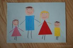 Rodzinka z figur geometrycznych, praca plastyczna dla maluchów. Art craft about family for preschoolers