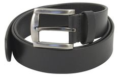 Black leather belt for jeans and trousers (1.5 inch)